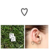 Tattify Small Heart Outline Temporary Tattoo - A little love (Set of 2) - Other Styles Available and Fashionable Temporary Tattoos - Tattoos that are Long Lasting and Waterproof