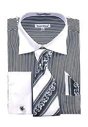 Men\'s Stylish Stripe Two Tone French Cuff Shirt Cufflinks - Black 16.5 36-37
