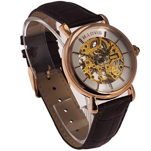 Monte Lovis Skelett Armbanduhr Herren, Automatik Uhrwerk, Lederarmband in Braun