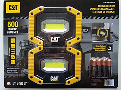 CAT LED Work Lights 500 Lumens, Rugged, Magnetic, Rotating Handle - 2 Pack (Tamaño: 2 Pack)