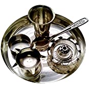 Silver Plated Plain Pooja Thali With 5 Accessories - 15 Cms Diameter