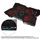 Marvo FN-30 15 - 17 inch Gaming Laptop Powerful Cooling Pad with Four 120mm Fan at 1200 RPM(4 Red Fans)
