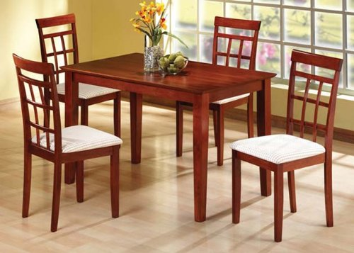 Solid Wood Dining Table and 6 Wood High Back Chairs in Cherry Finish ADS901716-ch,90182-ch