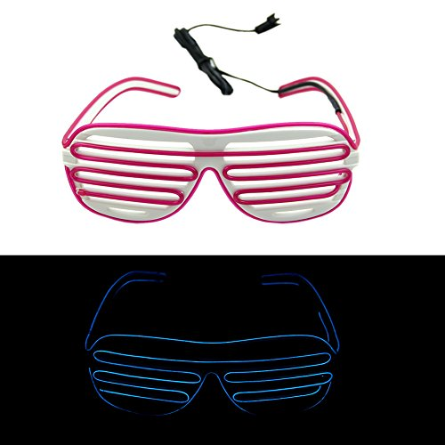Ystd® Fashion El Wire Neon Led Light Up Shutter Shaped Glasses For Rave Costume Party (White+Purple)