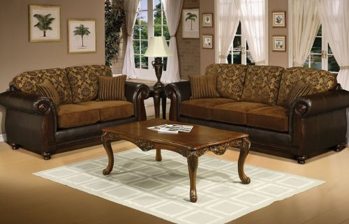 Buy Low Price Poundex 2pc Loveseat Sofa Set with Transitional Style in Chocolate Color (VF_F7938B)