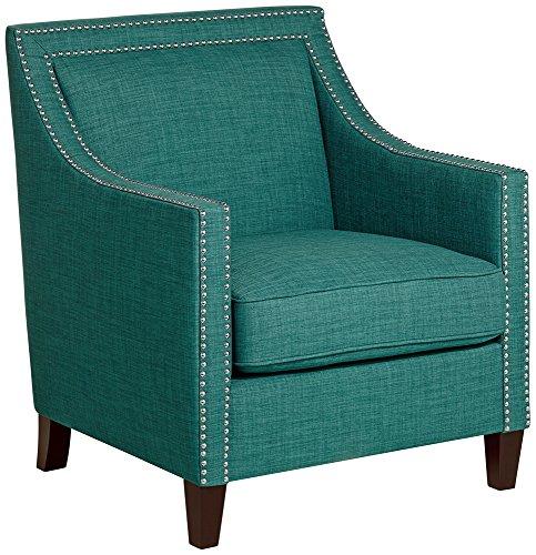 Flynn Teal with Chrome Nailheads Accent Chair