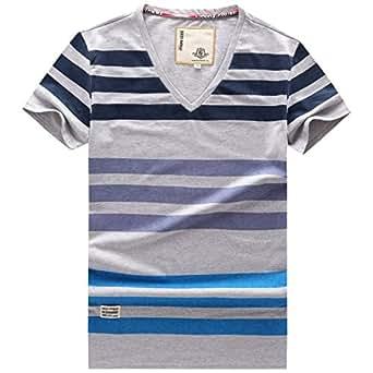 Kuchokken Men 39 S Blue Red Yellow Stripe Short Sleeve Cotton