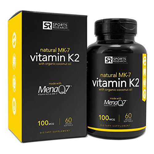 Vitamin K2 (MK7) 100mcg in Cold-Pressed Organic Coconut Oil | Made with clinically proven MenaQ7® and Formulated without Soy, Gluten Or GMOs - 60 Veggie Liquid Softgels