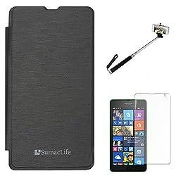 SumacLife PU Leather Flip Cover Case for Microsoft Lumia 535 (Black) + Matte Screen + Selfie Stand Stick