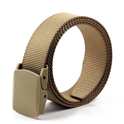 """Longwu Tela Web Belt Flip-Top con militari in plastica fibbia / Tip solido di colore 1.57 """"Wide Beige"""