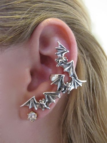 Sterling Silver Bat Flock Ear Climber Cuff Wrap Goth