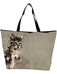 Snoogg Abstract Cat Designer Waterproof Bag Made Of High Strength Nylon