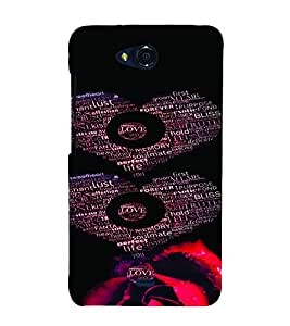 PrintVisa Romantic Love Hearts 3D Hard Polycarbonate Designer Back Case Cover for Micromax Canvas Play Q355
