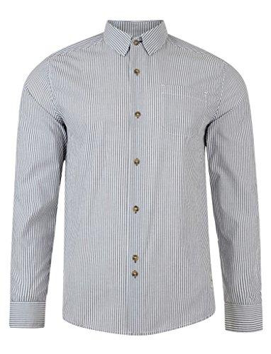 Bellfield - Shirt Lanes grigia a righe manica lunga da uomo Taglia M