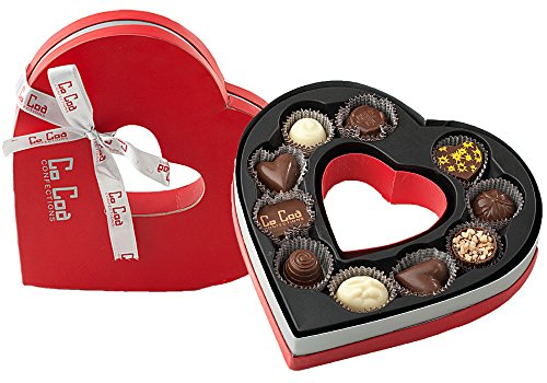 CoCoa Confection Red/Silver, Heart Chocolate Gift Box, 10 Count
