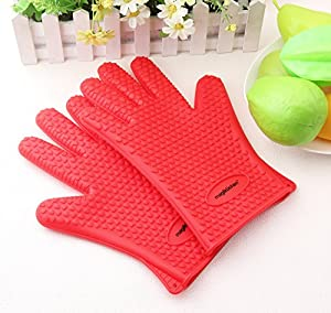 High Quality Cooking Gloves Heat Resistant Silicone for Using as Pot holders - Oven Mitts - Smoking and BBQ Grilling Gloves from Magiküchen - Perfect Fathers Day Gift