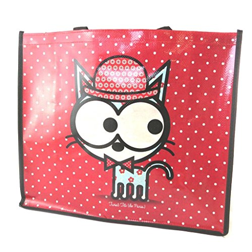 Shopping bag 'Chien Et Chat Lolita'rosso (46x40x19 cm).