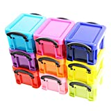 Mini colourful stackable plastic storage clip lock box containers set of 9 by Kurtzy TM