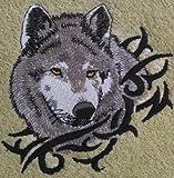 Bath Towel Set with Embroidered Wolf Head - Dark Blue