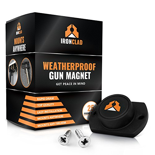 IronClad Quick Draw 25lb WeatherProof Gun Magnet Holder | Mount Your Pistol on the Desk, Truck, Vehicle, Car, BedSide, Safe, Wall or Table (Screws Included) (Safari Gun Safe compare prices)