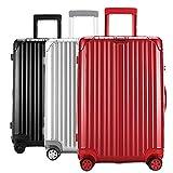 スーツケース 軽量 小型 中型 大型 wキャスター 8輪 TSA s m l ll キャリーケース キャリーバッグ カラフル (M, シルバー)