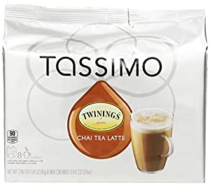 Twinings Chai Tea Latte, T-Discs for Tassimo Coffeemakers, 8 Count Packages, (pack of 5) (Package May Vary)