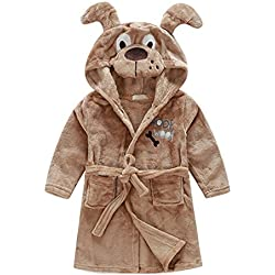 56655124c6 Little Girl s Brown Dog Fleece Bathrobe Unisex Kids Robe Pajamas Sleepwear.  Amazon.com