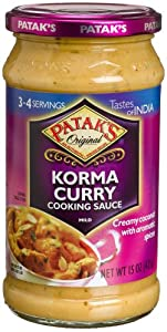 Patak's Korma Curry Cooking Sauce, Mild, 15-Ounce Glass Jars (Pack of 6) from Patak's