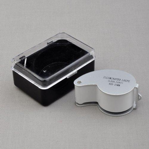 BestDealUSA 40x25mm Glass Magnifying Magnifier Jeweler Eye Jewelry Loupe Loop w/ LED Light