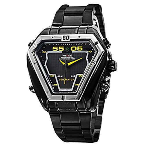Soleasy New Men'S Triangle Pattern Steel Digital-Analog Multi-Movement Led-Quartz Wrist Watch (2 Time Zone, Black) Wth0461