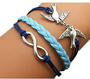 Plating Retro Silver Birds & Infinity Wish Bracelet Navy Ropes Light Blue Braided Personalized Charm Jewelry Friendship Gift 1185r
