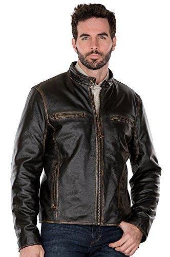 Jose Retro Leather Motorcycle Jacket, Black, Size Medium (40-42)