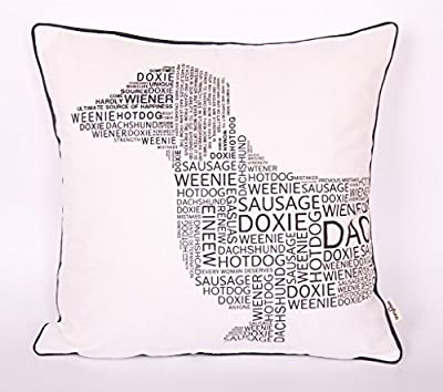 10 Letter Dachshund Head White PY105 Pattern cushion covers decorative case multicolor gift parents kids 18X18inch