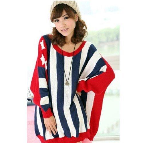 Stripe Stella USA Flag Kintting Cappotto allentato casuale Jumper / maglione