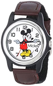 Disney Mickey Mouse Men's MCK617 Black and Brown Strap Moving Hands Watch