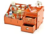 Thick Wood Desk Organizer Office Storage Make up Tools (S(28*18*16CM), orange)