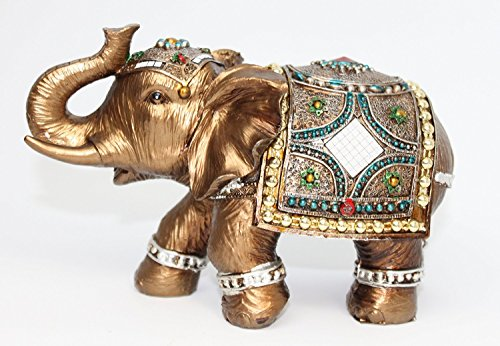 "Feng Shui 6"" Elegant Indian Elephant Trunk Statue in Presentable Box and Gift Bow~Wealth Lucky Figurine Home Decor Gift US Seller (Idea for Christmas Valentine's day, birthday)"