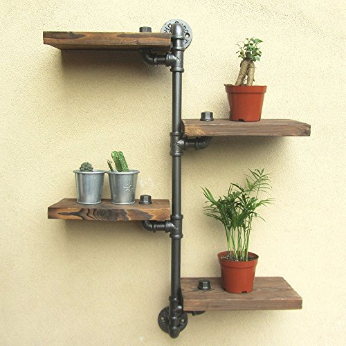 Vintage Home Decor-URBAN INDUSTRIAL RUSTIC WALL MOUNT IRON PIPE 4 TIERS WOOD SHELF SHELVING STORAGE (Pedestal Bowl Glass Sink compare prices)