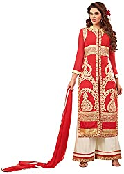 Ethnic Chic Women's Faux Georgette Unstitched Dress Material (Sejal-1007, Red)