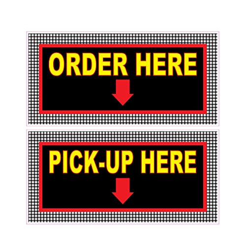 Order Here Pick Up Here Concession Restaurant Food Truck Die-Cut Vinyl Sticker 14 inches (Restaurant Order Sign compare prices)