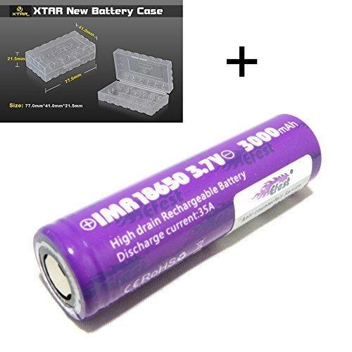 1 Véritable Efest IMR 18650 3000 mAh 35 A Violet Haute consommation Piles à Sommet Plat, testé indépendamment + XTAR Étui de rangement robuste