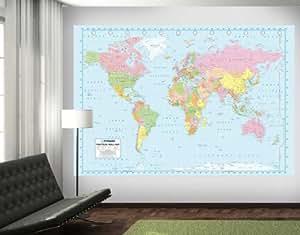 1wall mural de papel pintado para paredes foto de - Papel pintado mapamundi ...