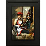 SAF UV Textured ' Rajasthani Man ' Print Double Framed Large Painting For Home Decoration – Size 40 X 4 X 50 Cm