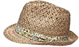 New Season 2014 Ladies Girls Open Weave Straw Trilby with Floral Trim Brim