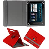 ACM ROTATING 360° LEATHER FLIP CASE FOR BSNL PENTA IS801C TABLET STAND COVER HOLDER RED