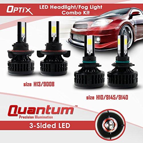 H13 H10 - Optix LED Conversion Kit Headlight Fog Light Combo 160W 16000LM Total 6000K 6K White 4 Bulb Set (Auto Headlight Bulbs H13 And H10 compare prices)