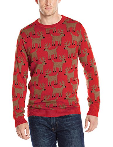 Alex Stevens Men'S Reindeer Herd Ugly Christmas Sweater, Red Combo, X-Large