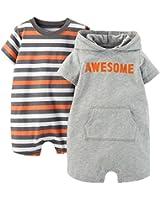 Carter's Baby Boys 2-pk. Striped & Hooded Romper Set