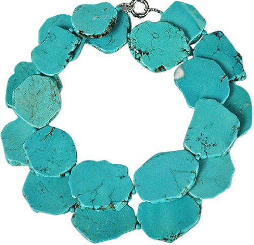 Long Turquoise Necklace, Statement Necklace - One Strand 37 Inches Bluish Green Turquoise Necklace (Fn0506)