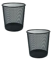 2 Pcs Mesh Metal Dustbin ~ Dust Bin ~ Trashbin ~ Trash Bin ~ Wastebasket For Home / Office / School etc